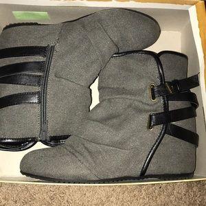 Black Boot Wedges
